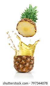 Fresh ripe flying cut pineapple with juice splash for healthy nutrition isolated on white background
