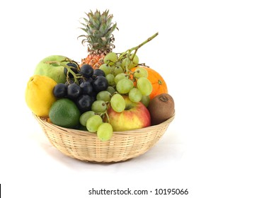 Fresh and ripe fruits in the basket