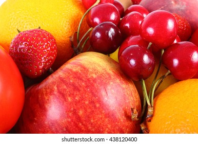 Fresh ripe fruits and vegetables lying, concept of healthy food, nutrition and strengthening immunity. Isolated on white background