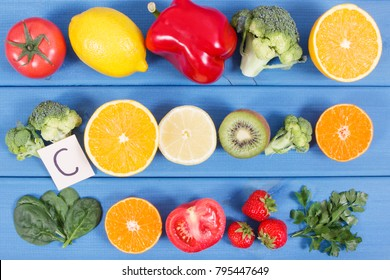 Fresh ripe fruits and vegetables as sources of minerals containing vitamin C, dietary fiber and minerals, healthy nutrition and strengthening immunity concept