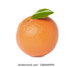 Fresh ripe grapefruit with leaf isolated on white