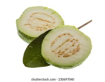 Fresh ripe green guava isolated