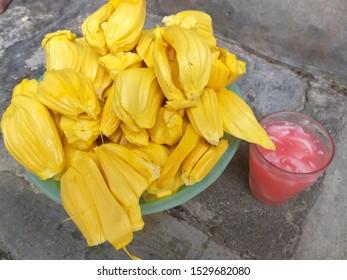 fresh ripe jackfruit. fresh sweet jackfruit segment ready foe eat. tropical fruit