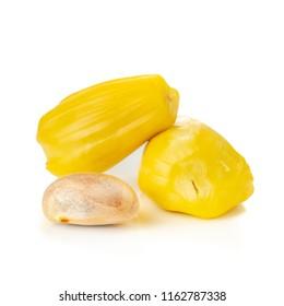 Fresh ripe jackfruit or sweet yellow jackfruit ripe, Kerala Jackfruit (Artocarpus heterophyllus) isolated on white background. Tropical Thai fruit.