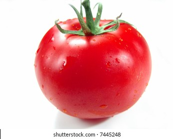 Fresh, Ripe and Juicy Isolated Big Red Tomato with Stems (Closeup with life-like colors)