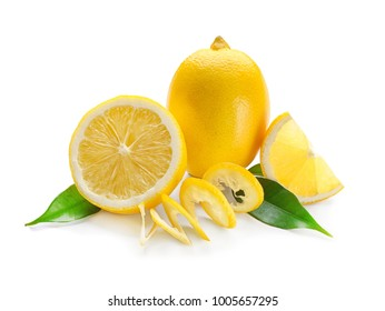 Fresh ripe lemons with leaves on white background