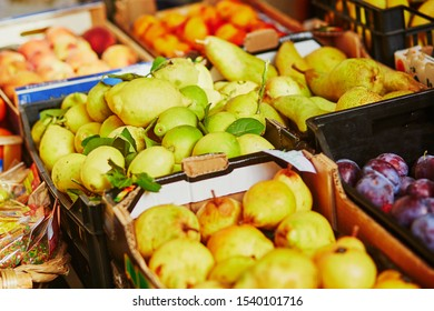 Fresh ripe lemons on farmer market in Riomaggiore, one of five famous villages of Cinque Terre in Liguria, Italy