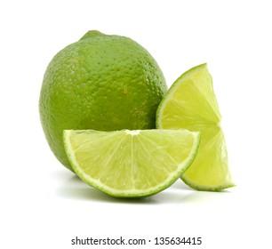 Fresh ripe lime isolated on white background
