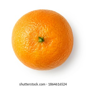 Fresh ripe mandarin, tangerine or clementine isolated on white background, top view
