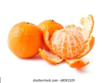 Fresh ripe mandarins isolated on white background