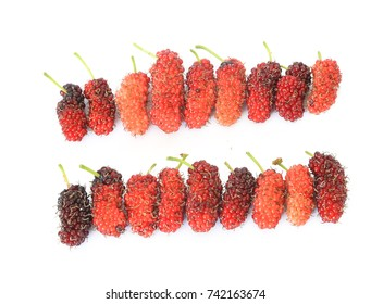Fresh ripe mulberry berries  isolated on white background