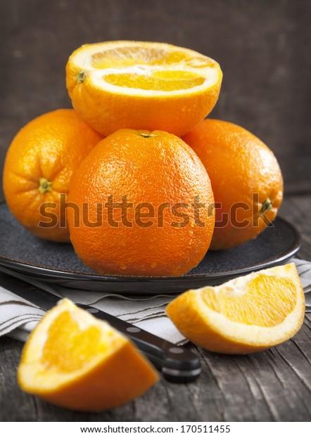 Fresh ripe oranges. Selective focus
