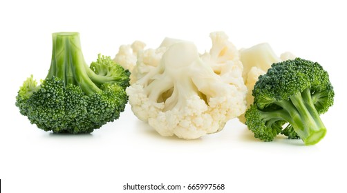 Fresh ripe organic broccoli and cauliflower isolated on white background