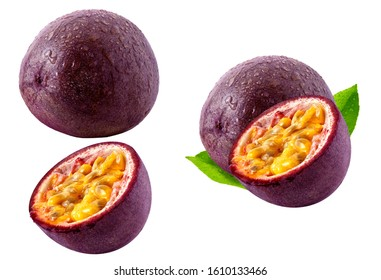 Fresh ripe passion fruit, whole, half cut fruits set isolated. Passion fruit design elements, focus stacking, white background. Raw tropical passiflora maracuja fruits, healthy diet nutrition clipart