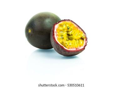 Fresh Ripe Passion fruits / Maracuja isolated on white background