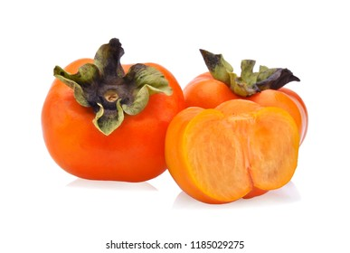 fresh ripe persimmons isolated on white background