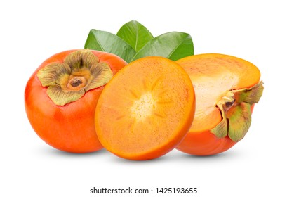 fresh ripe persimmons isolated on white background. full depth of field
