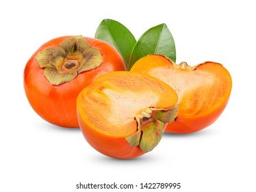 fresh ripe persimmons with leaf isolated on white background. full depth of field