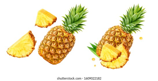 Fresh ripe pineapple fruit, pineapple fruit slices isolated. Juicy fruit design elements composition with focus stacking, white background. Tasty raw whole tropical fruit, healthy nutrition concept
