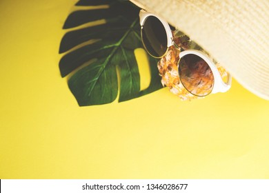 Fresh ripe pineapple with sunglasses in hat and a leaf of monstera tree on color background, top view.