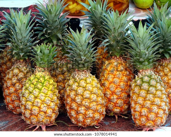 Fresh ripe pineapples are sold at the local market