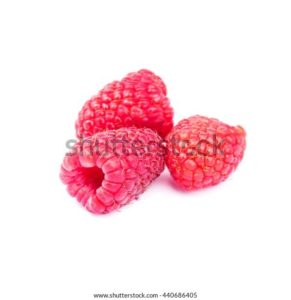 Fresh, ripe raspberries isolated on white background