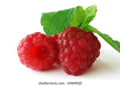 Fresh, ripe raspberries on white