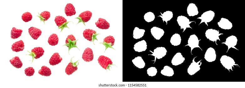Fresh ripe raspberries (Rubus idaeus fruits), top view