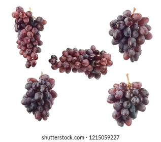 fresh ripe red grape isolated on white background
