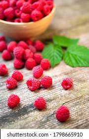 Fresh ripe red raspberries with leaves in a bowl on rustic old wooden table. Healthy organic food, summer vitamins, BIO viands, natural background. Copy space for your advertising text message.