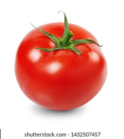 Fresh, ripe, red tomato isolated on white background. Full depth of field.