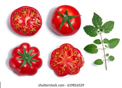 Fresh ripe round and ribbed tomatoes with sepal, whole and half, leaf. Top view, clipping paths, shadows separated