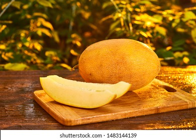 Fresh ripe sliced melon on wooden table with blurred garden sunset background. Food, Fruits or healthcare concept.