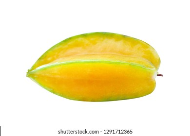 Fresh ripe star fruit carambola or averrhoa carambola isolated on white background with clipping path
