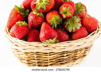 Fresh ripe strawberries in a basket.