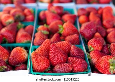 Fresh Ripe Strawberries in Baskets