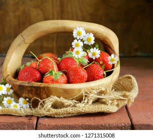 fresh ripe strawberries - summer berries rustic style