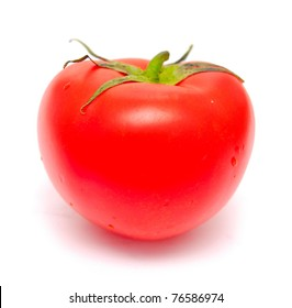 fresh ripe tomato isolated on white