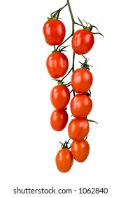Fresh and ripe tomatoes on a vine isolated on white.
