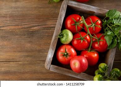 Fresh ripe tomatoes top view