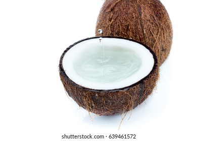 fresh ripe tropical coconuts with water isolated on white, coconut