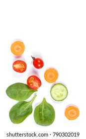 Fresh ripe vegetables, concept of healthy nutrition, copy space for text on white background
