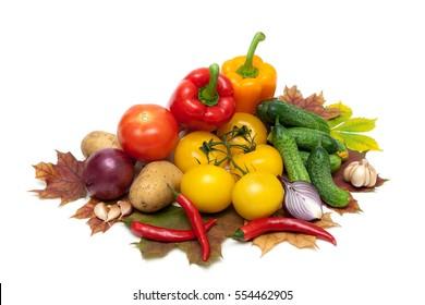 fresh ripe vegetables isolated on white background. horizontal photo.