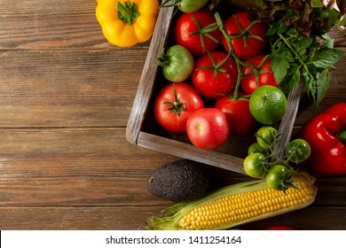 Fresh ripe vegetables top view