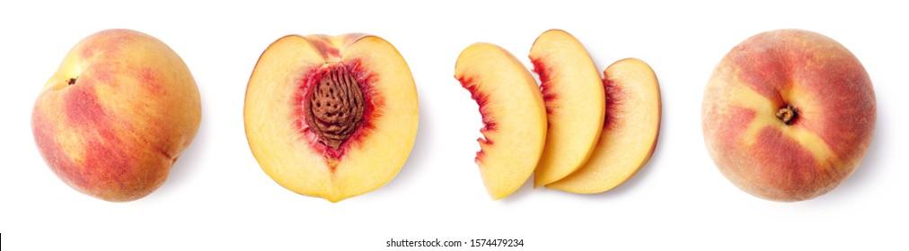 Frisch reife ganze, halber und geschnittener Pfirsich einzeln auf weißem Hintergrund, Draufsicht