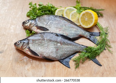 fresh river fish bream on the table
