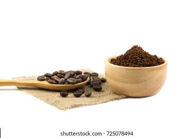 fresh roast coffee bean with beans powder on white background