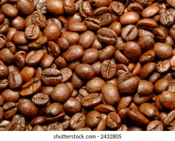 Fresh roasted brown aromatic coffee beans texture