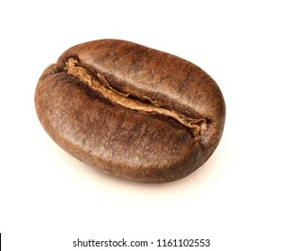 Fresh roasted coffee bean isolated on white background. Clipping path included.