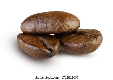 Fresh Roasted Coffee Beans Isolated on White Background. Close Up of Three Shiny Coffee Grains with Shadow. Tasty Gourmet Coffee, Morning Aroma Drink and Refreshment Concept